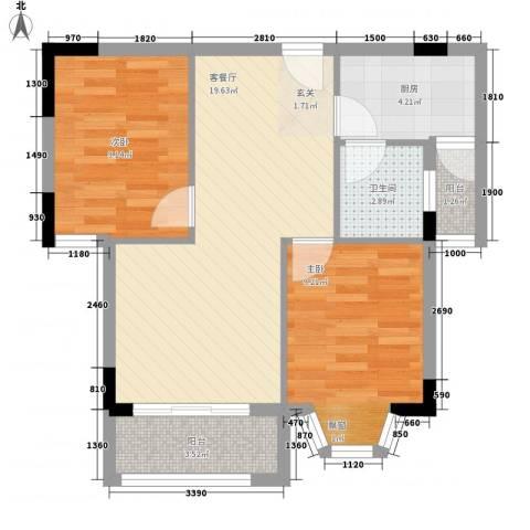 嘉丰苑2室1厅1卫1厨72.00㎡户型图