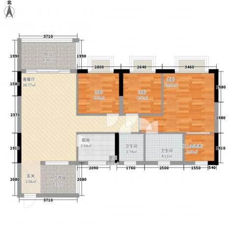 嘉骏豪苑三期3室1厅2卫1厨112.00㎡户型图