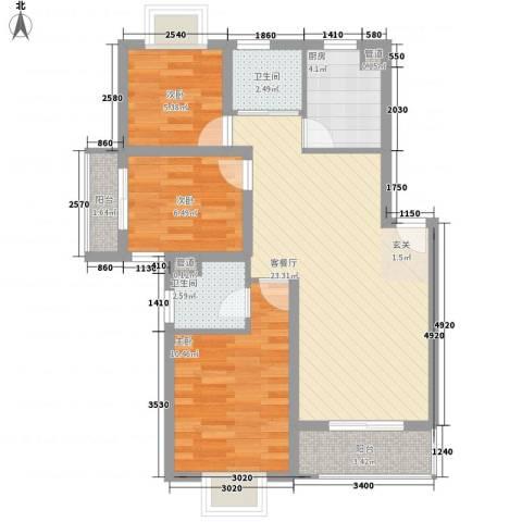 长江绿岛3室1厅2卫1厨70.40㎡户型图