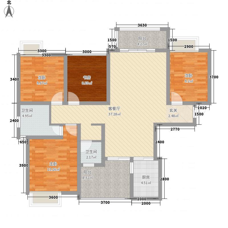 慧佳城11.33㎡1期1、2、3#A3+户型4室2厅2卫1厨