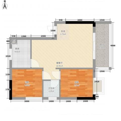 嘉骏豪苑三期2室1厅1卫1厨69.00㎡户型图