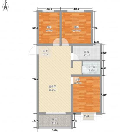 宣府第一城3室1厅1卫1厨107.00㎡户型图
