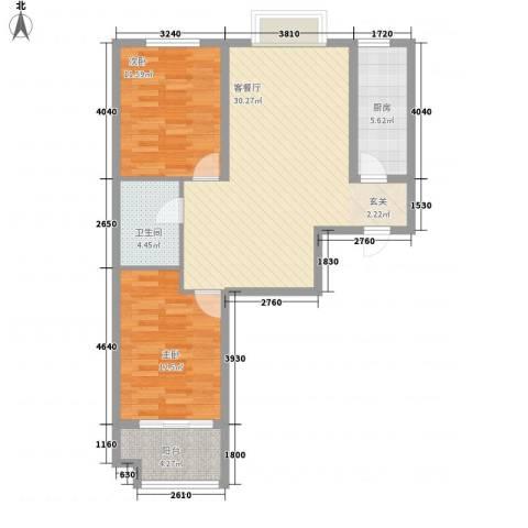 城市西景2室1厅1卫1厨68.70㎡户型图