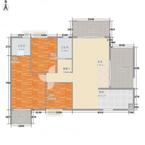 宝岛花园(二期)3室1厅2卫0厨260.00㎡户型图