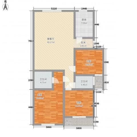 新世纪安居苑3室1厅2卫1厨147.00㎡户型图