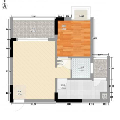嘉骏豪苑三期1室1厅1卫1厨54.00㎡户型图