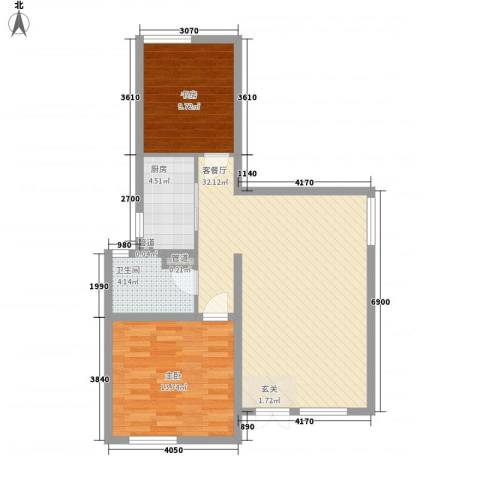 海尔桃花源2室1厅1卫1厨64.48㎡户型图