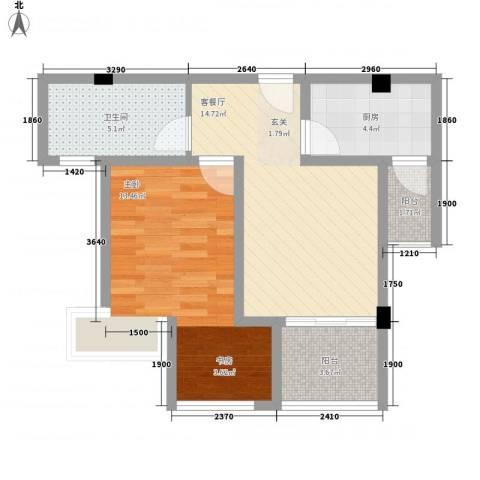 瑞泽源一里洋房1室1厅1卫1厨56.00㎡户型图