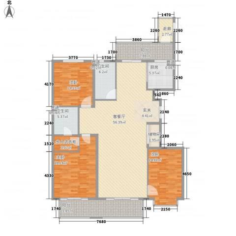 上实盛世江南3室1厅2卫1厨205.00㎡户型图