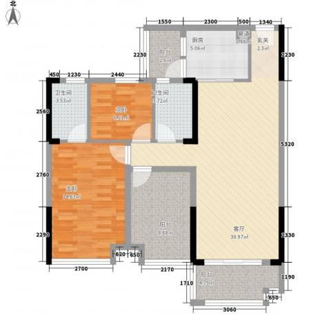 明大汇乐园2室1厅2卫1厨116.00㎡户型图