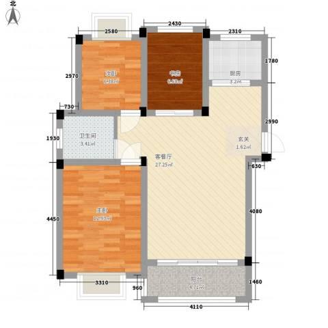 凤凰城3室1厅1卫1厨94.00㎡户型图
