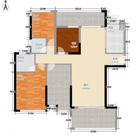 明大汇乐园3室1厅2卫1厨178.00㎡户型图