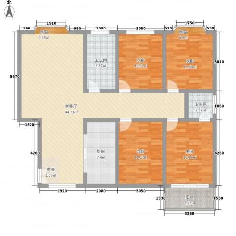 坞城世纪花园4室1厅2卫1厨126.40㎡户型图