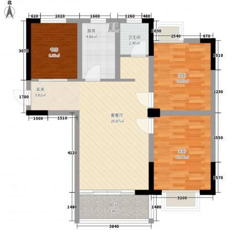 凤凰城3室1厅1卫1厨96.00㎡户型图