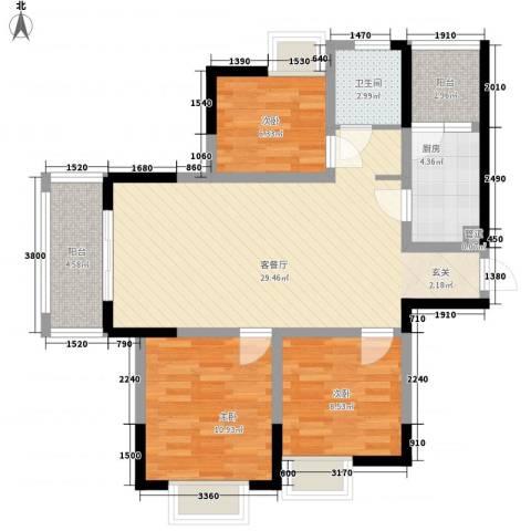 凤凰城3室1厅1卫1厨102.00㎡户型图