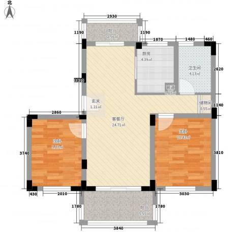 颐养居2室1厅1卫1厨72.00㎡户型图