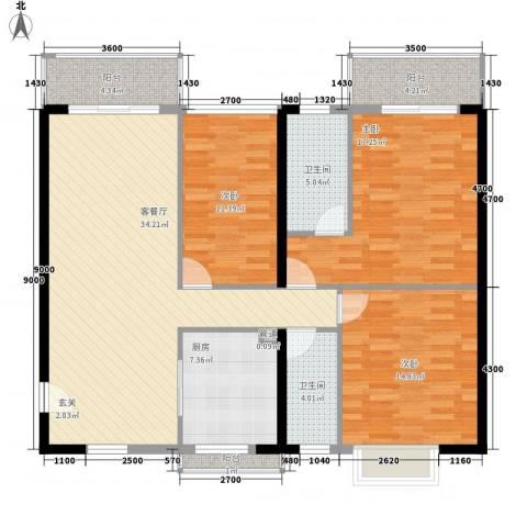 世纪新潮3室1厅2卫1厨145.00㎡户型图