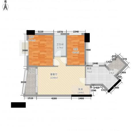 东山华庭2室1厅1卫1厨84.00㎡户型图