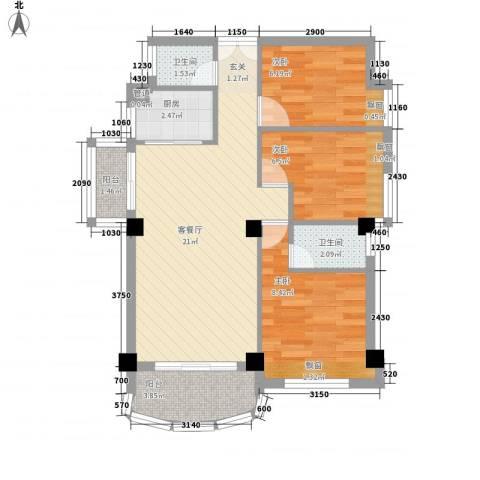 吉大新村3室1厅2卫1厨78.00㎡户型图