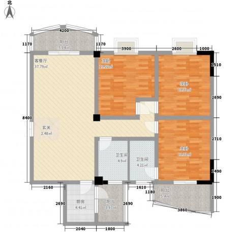 东山华庭3室1厅2卫1厨150.00㎡户型图