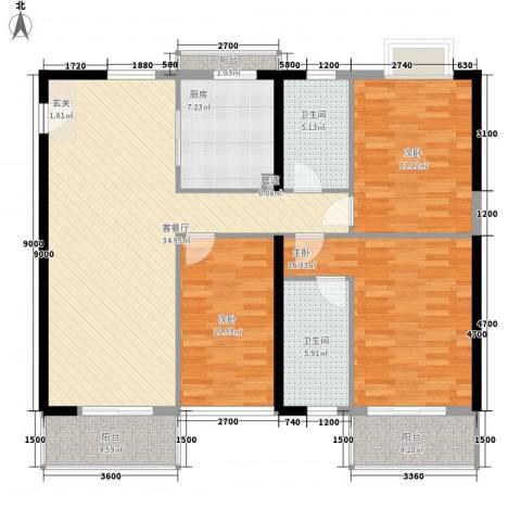 世纪新潮3室1厅2卫1厨146.00㎡户型图