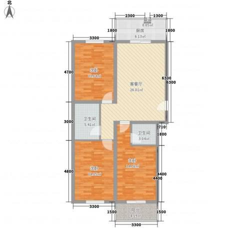 宏华大厦3室1厅2卫1厨124.00㎡户型图