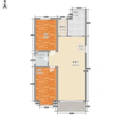 鑫丰国际2室1厅1卫1厨116.00㎡户型图