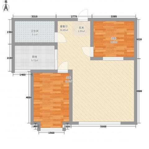 雅格花园2室1厅1卫1厨83.00㎡户型图
