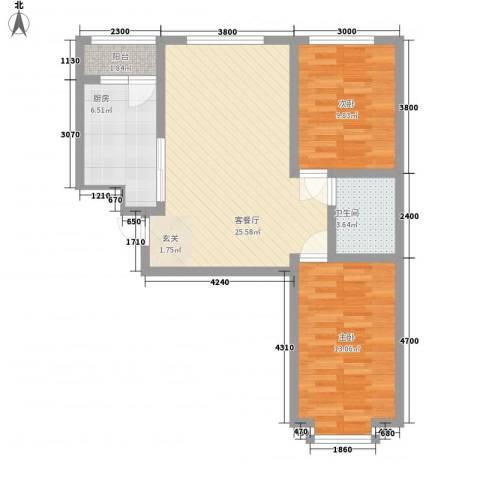雅格花园2室1厅1卫1厨86.00㎡户型图