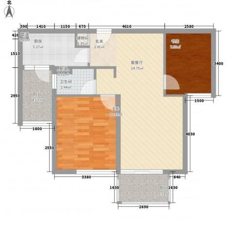 东一时区2室1厅1卫1厨87.00㎡户型图