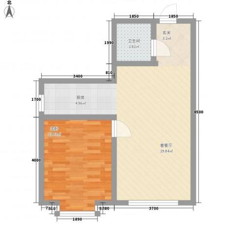 雅格花园1室1厅1卫0厨61.00㎡户型图