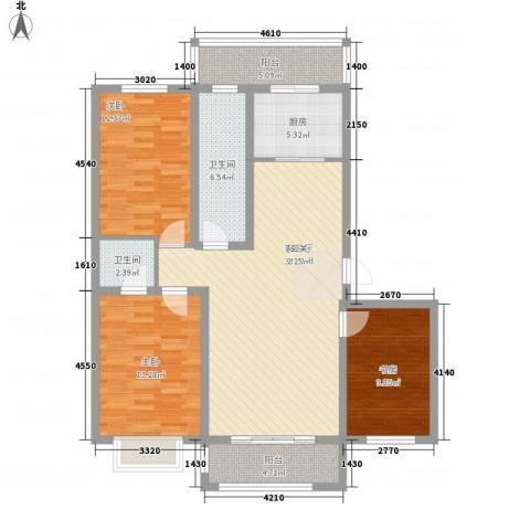 联建小区3室1厅2卫1厨131.00㎡户型图