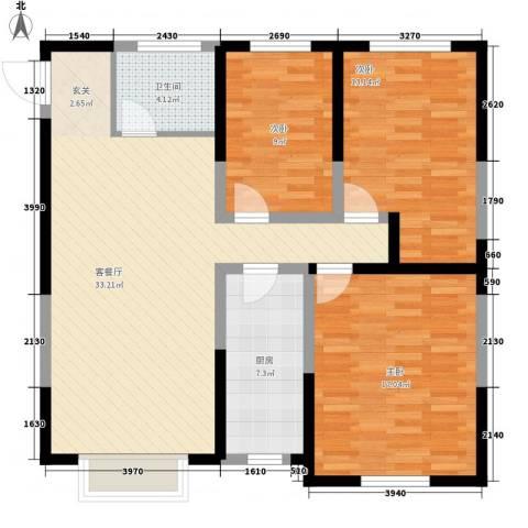 鼎新花园3室1厅1卫1厨119.00㎡户型图