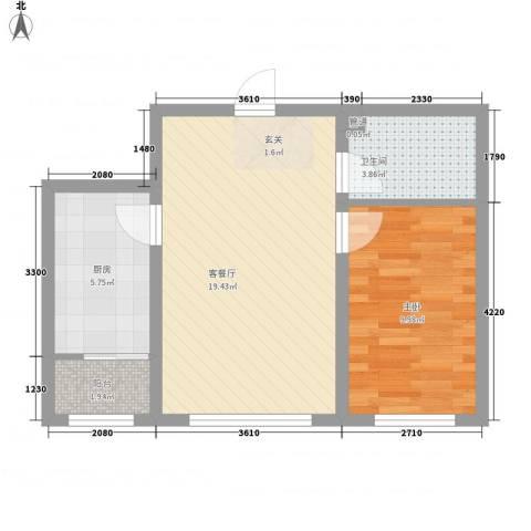御景嘉园1室1厅1卫1厨54.00㎡户型图