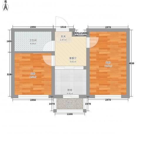 华诚阳光2室1厅1卫1厨44.00㎡户型图