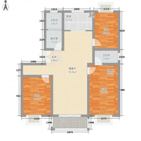 柳馨花园3室1厅2卫0厨133.00㎡户型图