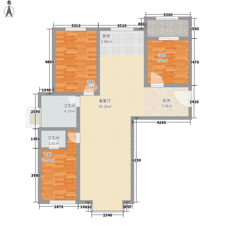 彤辉绿园小区3室2厅2户型3室2厅2卫1厨