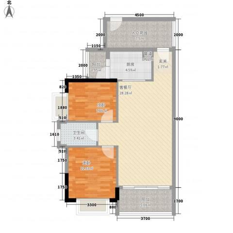 七星奥林园2室1厅1卫1厨84.00㎡户型图