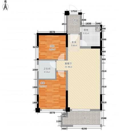禹洲高尔夫2室1厅1卫1厨115.00㎡户型图