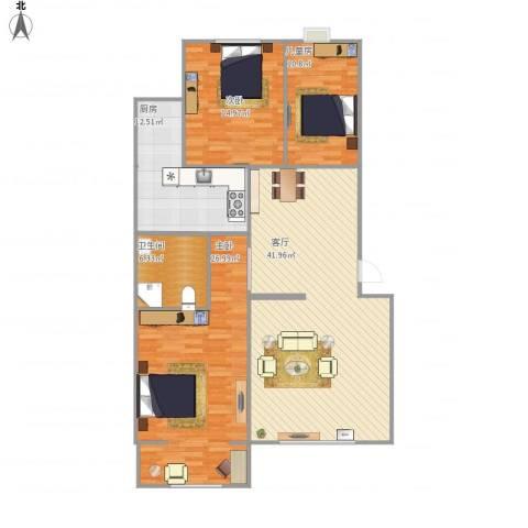 朝阳花园3室1厅1卫1厨151.00㎡户型图