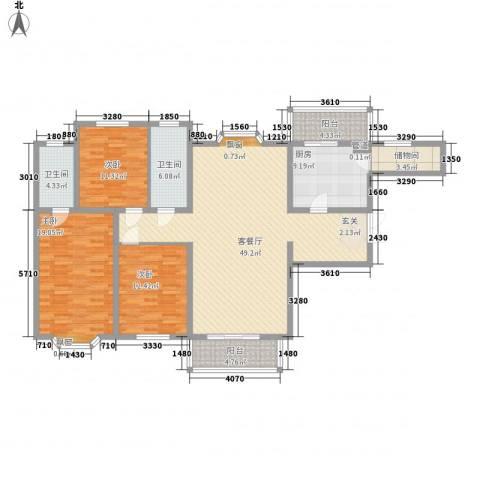 罗马花园二期3室1厅2卫1厨124.24㎡户型图