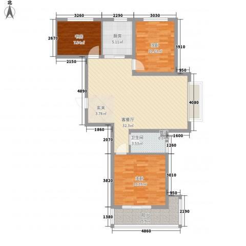 丽景华苑3室1厅1卫1厨112.00㎡户型图