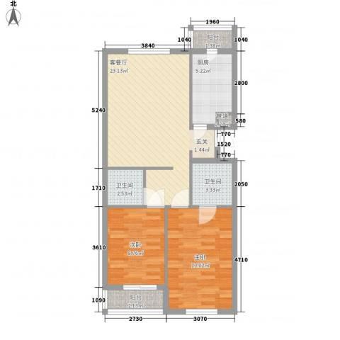 罗马花园二期2室1厅2卫1厨88.00㎡户型图
