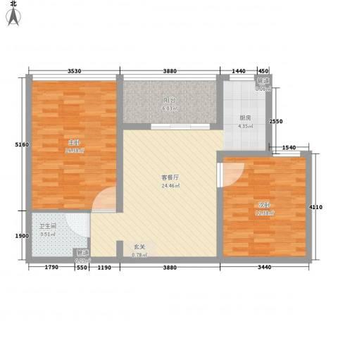 书香国际公寓2室1厅1卫0厨90.00㎡户型图