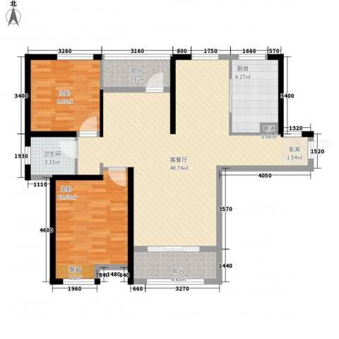 首创悦府2室1厅1卫1厨117.00㎡户型图