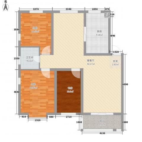 东盛花园3室1厅1卫1厨140.00㎡户型图