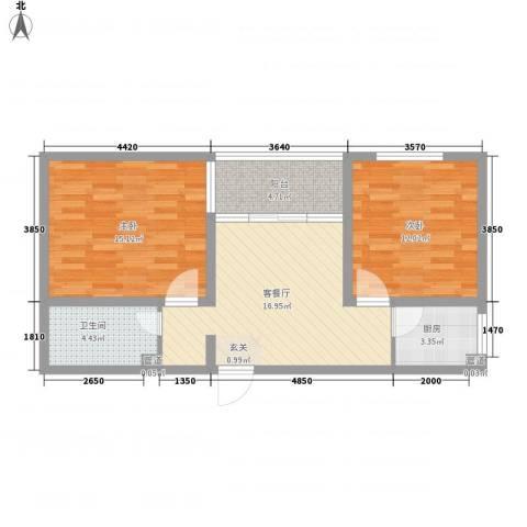 书香国际公寓2室1厅1卫1厨82.00㎡户型图