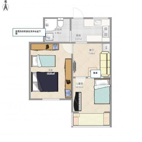 松林小区2室1厅1卫1厨43.96㎡户型图