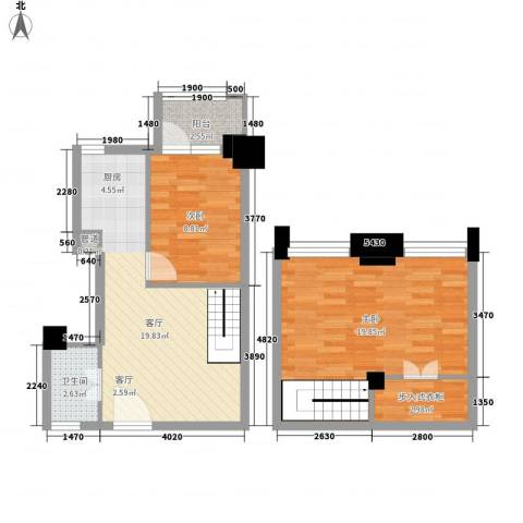 东岸国际二期2室1厅1卫0厨82.00㎡户型图
