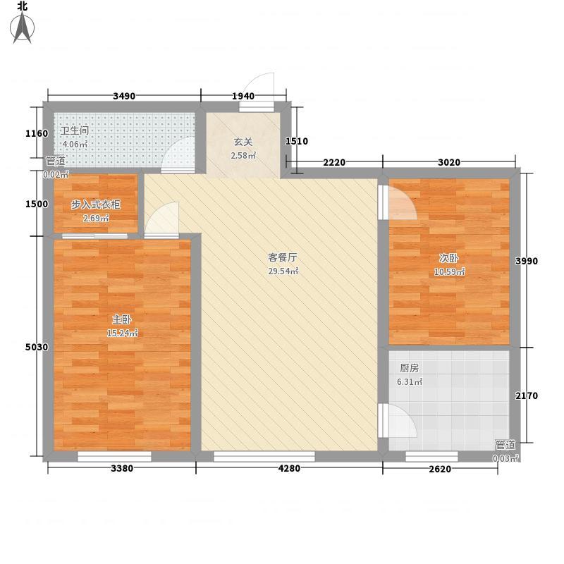 昌盛小区花2室2厅1户型2室